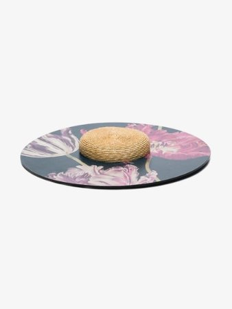 ELIURPI multicoloured floral print wood and straw hat   Browns