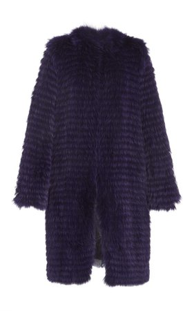 Sally LaPointe Arctic Fox Long Duster Coat