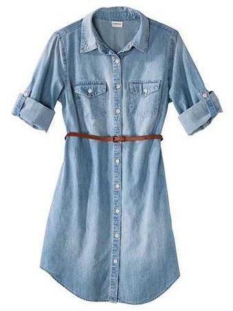 Merona Women's Denim Belted Shirt Dress