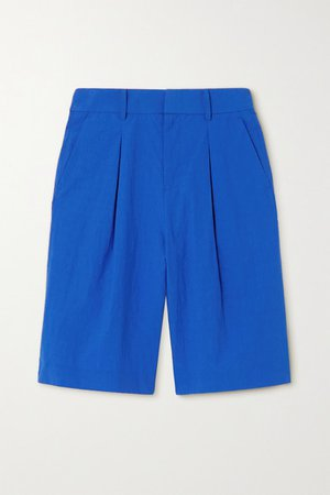 Pleated Crinkled-cotton Shorts - Blue