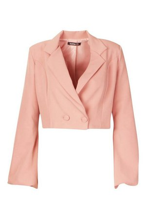 Volume Sleeve Double Breasted Cropped Blazer   Boohoo