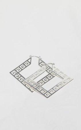 Silver Diamond Greek Key Cut Out Hoop Earring | PrettyLittleThing