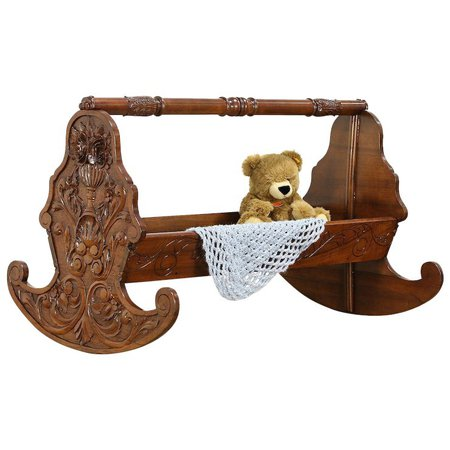 Italian Antique Hand Carved Walnut Rocking Baby Cradle Bed #30479 : Harp Gallery Antique Furniture   Ruby Lane