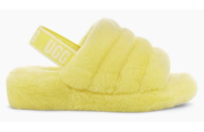 Neon Yellow Fluff Yeah Ugg Slide