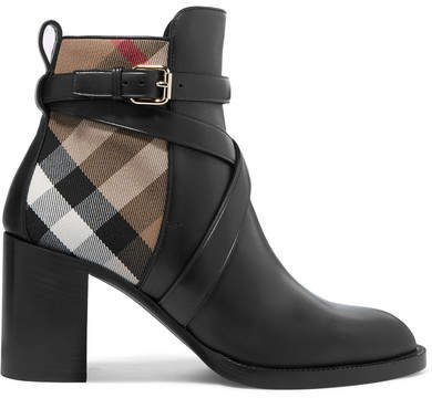Leather And Checked Canvas Ankle Boots - Black