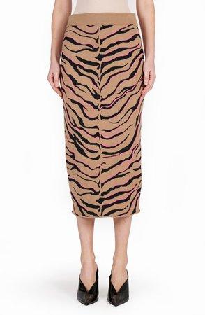 Tiger Stripe Wool Pencil Skirt