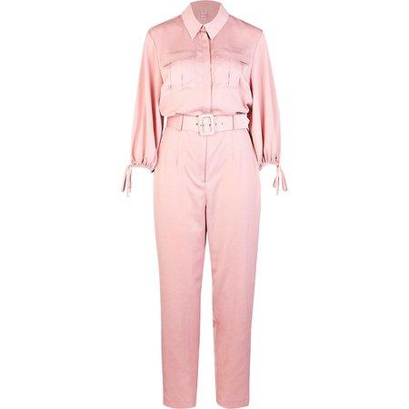 Pink belted jumpsuit | River Island