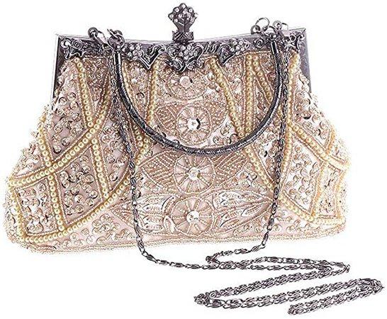 Women Vintage Bead Sequined Evening Handbag Wedding Party Clutch (Champagne)