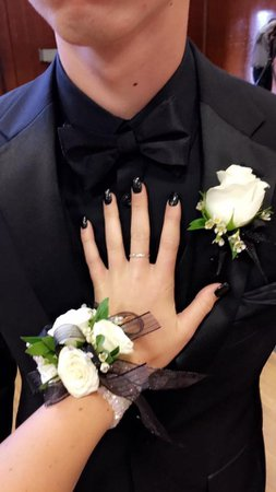 black corsage and boutonniere - Google Search