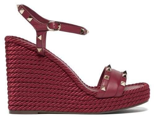 Torchon Rockstud Leather Wedge Sandals - Womens - Burgundy