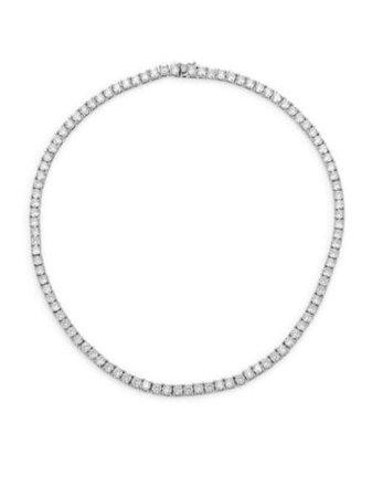 Fallon - Monarch Heart Solitaire Cubic Zirconia Collar Necklace - saks.com