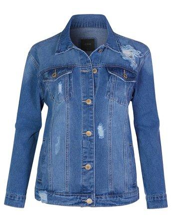 LE3NO Womens Vintage Ripped Distressed Long Sleeve Boyfriend Fit Denim Jean Jacket | LE3NO blue