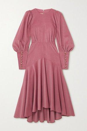 Eliza Gathered Silk-corduroy Midi Dress - Purple