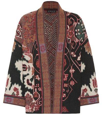 Wool-blend jacquard cardigan