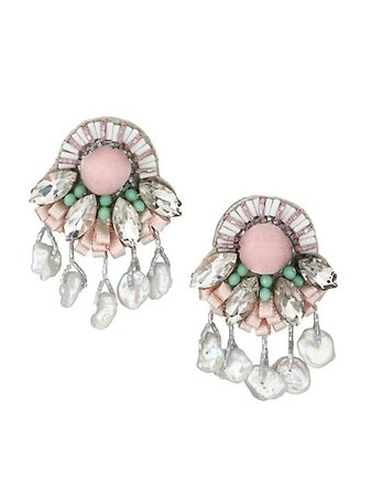 Ranjana Khan 1-8MM Pearl, Crystals, Glass Beads & Silk Covered Pom-Pom Drop Clip-On Earrings   SaksFifthAvenue