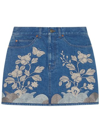 Gucci Embroidered denim mini skirt blue