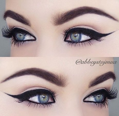 eye makeup with cat eyes