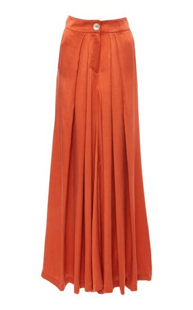 Raphaelle Pleated Silk Wide-Leg Pants by Bird & Knoll | Moda Operandi