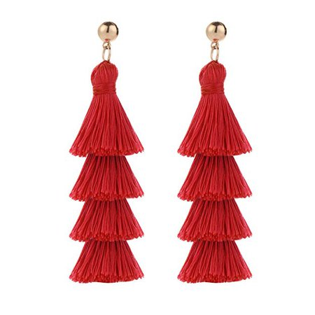 Amazon.com: BaubleStar Fashion Gold Tassel Dangle Earrings Layered Long Bonita Tiered Red Thread Tassel Drop Statement Jewelry for Women Girls: Gateway