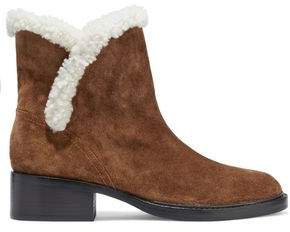 Shearling-trimmed Suede Ankle Boots