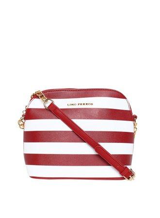 Buy Lino Perros Red/White Striped Sling Bag Online - 6665355 - Jabong