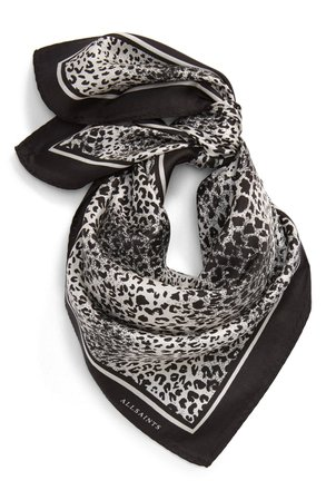 ALLSAINTS Diffusion Leopard Silk Bandanna Scarf | Nordstrom