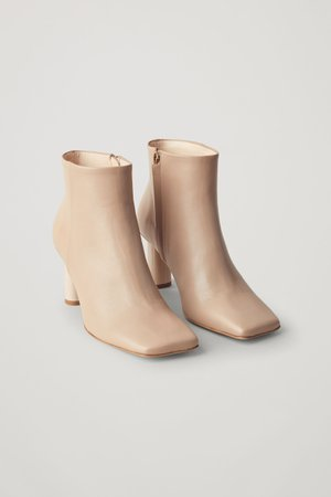 SQUARE TOE LEATHER ANKLE BOOTS - beige - Boots - COS PT