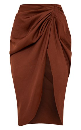 Chocolate Brown Ruched Side Midi Skirt - New In | PrettyLittleThing USA