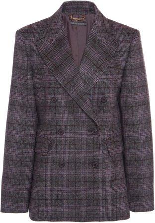 Alberta Ferretti Prince Of Wales Wool-Silk Coat
