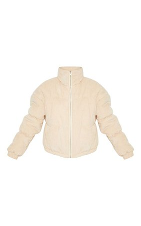 Petite Beige Cord Puffer Jacket | Petite | PrettyLittleThing