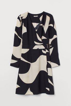 Belted Wrap Dress - Beige
