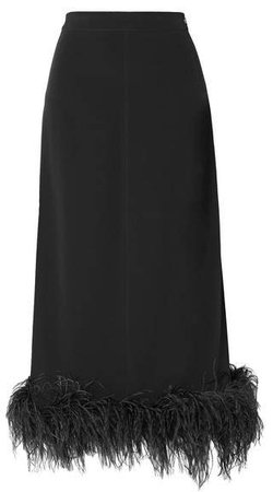 Feather-trimmed Crepe Midi Skirt - Black