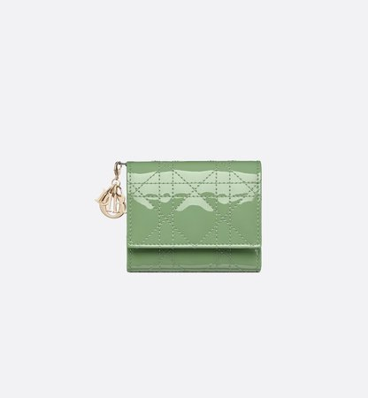 Dior Lady Dior Lotus Wallet Mint Green Patent Cannage Calfskin