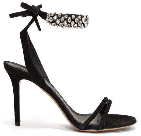 Alrina Crystal-embellished Suede Sandals - Black Silver