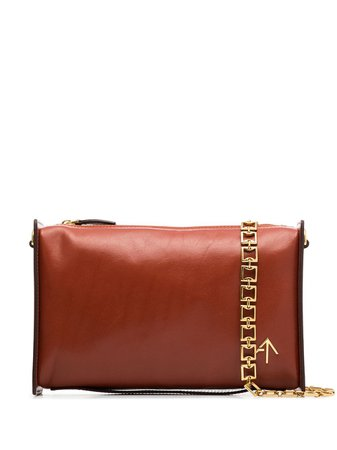 Shop red Manu Atelier chain-trim leather shoulder bag with Express Delivery - Farfetch