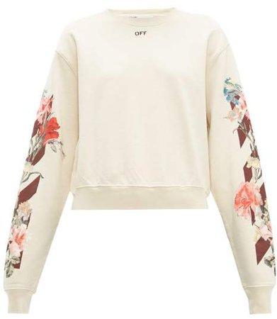 Off White Floral And Logo Print Cotton Jersey Sweatshirt - Womens - Cream Multi