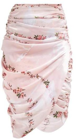 Marion Ruched Skirt - Womens - Pink Multi
