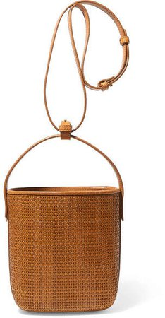 TL-180 - Prett Panier Saigon Woven Raffia And Leather Shoulder Bag - Tan