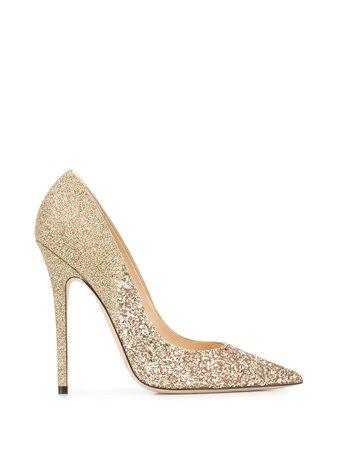 Jimmy Choo Glitter Embellished 125Mm Stiletto Heels ANOUKVLD Gold   Farfetch