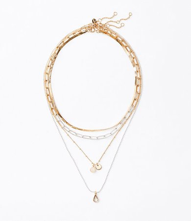 Mixed Metallic Layered Necklace Set