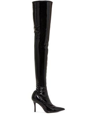 Amina Muaddi Ami 70Mm Patent-Leather Thigh-High Boots