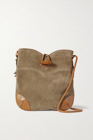 Tyag Leather-trimmed Suede Shoulder Bag - Beige