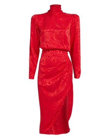Kaira Moiré High Neck Dress