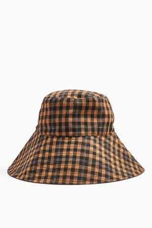 Brown Mini Check Wide Bucket Hat | Topshop