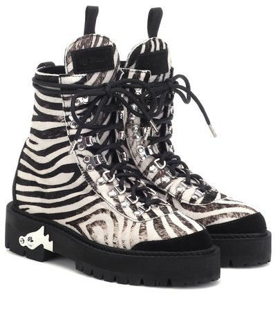 Off-White - Zebra-effect calf hair ankle boots | Mytheresa