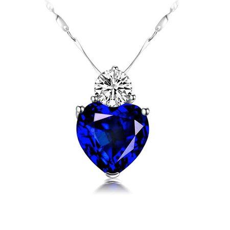 Blue Sapphire Heart Necklace For Girlfriend In Silver-VANCARO