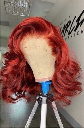 red curly lace wig