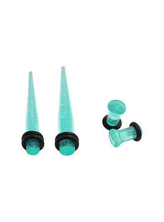 Acrylic Teal Glitter Taper & Plug 4 Pack