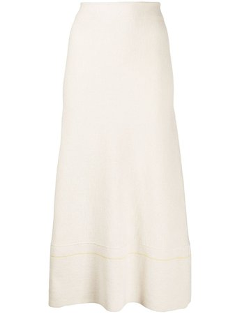 Shop white Victoria Beckham high-rise flared knitted midi skirt with Express Delivery - Farfetch