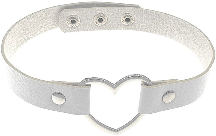 Amazon.com: HuanX35 Gothic Punk Choker,PU Leather Short Necklace with Heart Shape Connector(White): Clothing